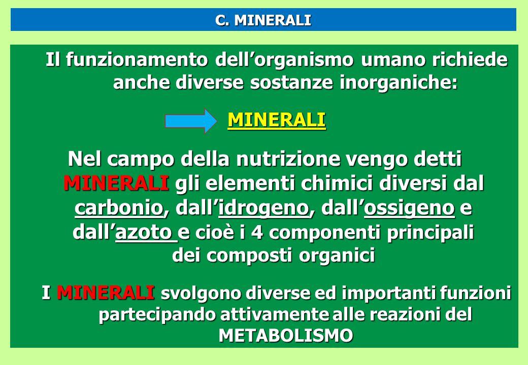 Il funzionamento dell'organismo umano richiede anche diverse sostanze inorganiche: MINERALI Nel campo della nutrizione vengo detti MINERALI gli elemen