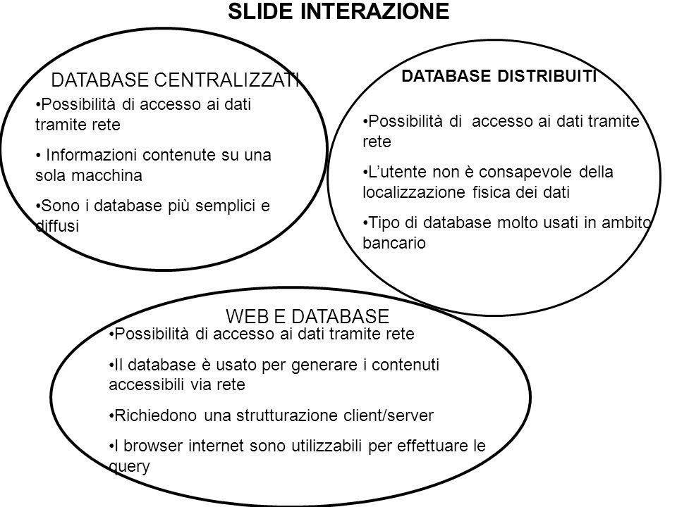 SLIDE INTERAZIONE DATABASE CENTRALIZZATI Possibilità di accesso ai dati tramite rete Informazioni contenute su una sola macchina Sono i database più semplici e diffusi DATABASE DISTRIBUITI Possibilità di accesso ai dati tramite rete L'utente non è consapevole della localizzazione fisica dei dati Tipo di database molto usati in ambito bancario WEB E DATABASE Possibilità di accesso ai dati tramite rete Il database è usato per generare i contenuti accessibili via rete Richiedono una strutturazione client/server I browser internet sono utilizzabili per effettuare le query