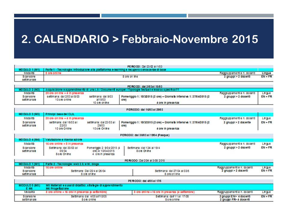 2. CALENDARIO > Febbraio-Novembre 2015