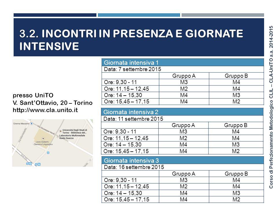 Corso di Perfezionamento Metodologico CLIL – CLA-UniTO a.a. 2014-2015 Giornata intensiva 3 Data: 16 settembre 2015 Gruppo AGruppo B Ore: 9,30 - 11M3M4