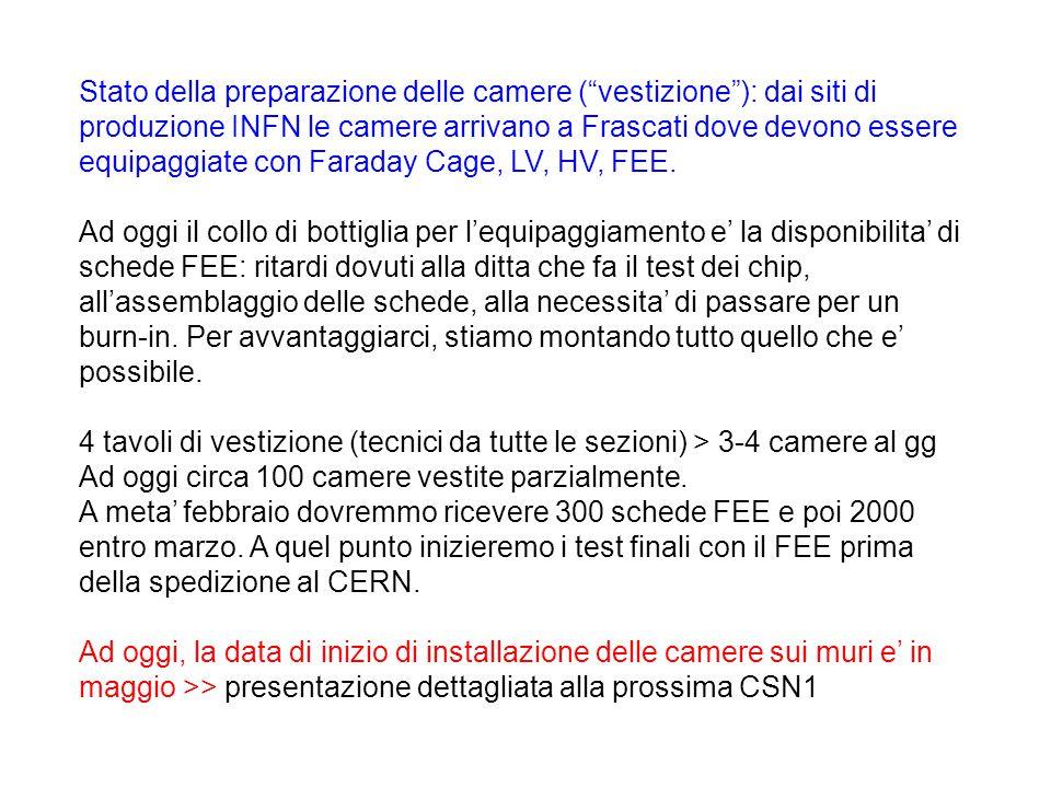 Stato della preparazione delle camere ( vestizione ): dai siti di produzione INFN le camere arrivano a Frascati dove devono essere equipaggiate con Faraday Cage, LV, HV, FEE.