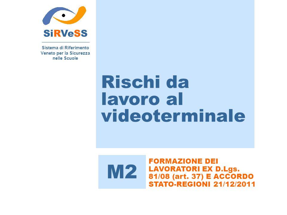 Rischi da lavoro al videoterminale SiRVeSS Sistema di Riferimento Veneto per la Sicurezza nelle Scuole M2 FORMAZIONE DEI LAVORATORI EX D.Lgs. 81/08 (a