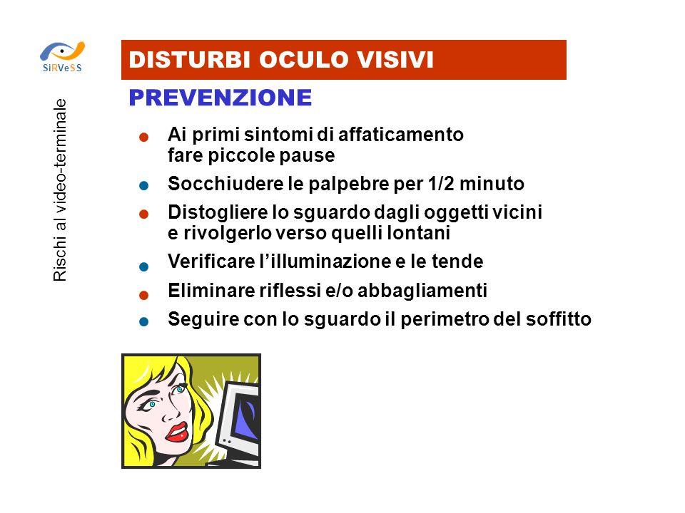 DISTURBI OCULO VISIVI PREVENZIONE Rischi al video-terminale SiRVeSS Ai primi sintomi di affaticamento fare piccole pause Socchiudere le palpebre per 1