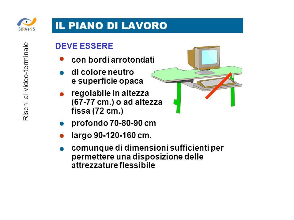 IL PIANO DI LAVORO Rischi al video-terminale SiRVeSS con bordi arrotondati di colore neutro e superficie opaca regolabile in altezza (67-77 cm.) o ad