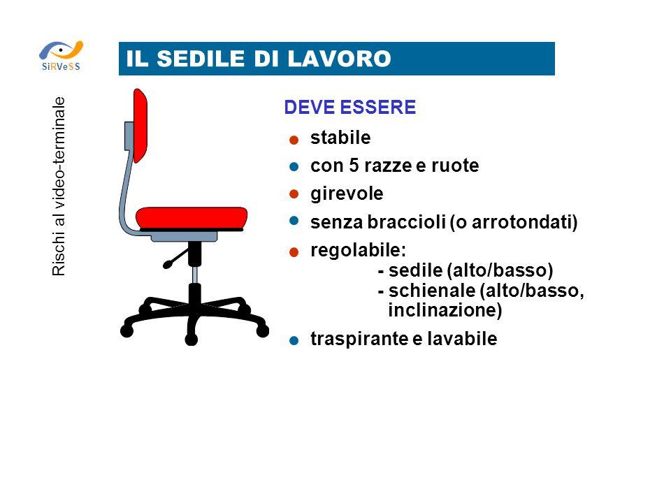 IL SEDILE DI LAVORO Rischi al video-terminale SiRVeSS stabile con 5 razze e ruote girevole senza braccioli (o arrotondati) regolabile: - sedile (alto/