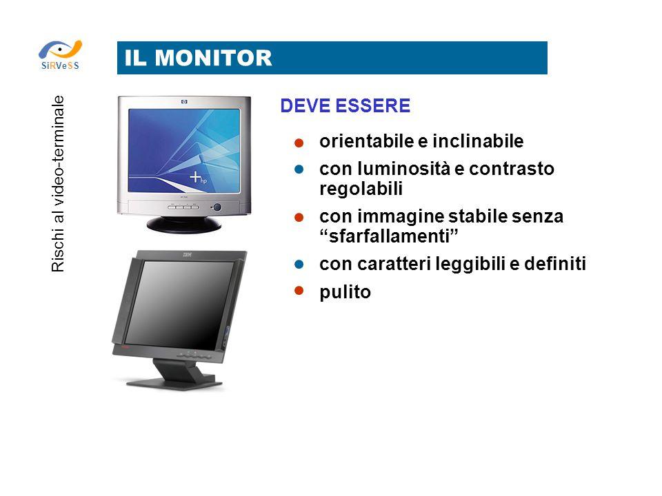 """IL MONITOR Rischi al video-terminale SiRVeSS DEVE ESSERE orientabile e inclinabile con luminosità e contrasto regolabili con immagine stabile senza """"s"""