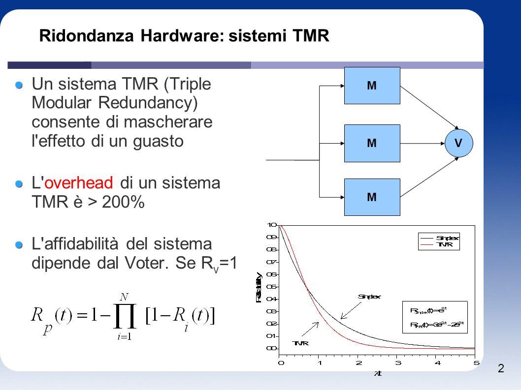 3 Ridondanza Hardware: sistemi TMR M M M V V V Se non posso trascurare l affidabilità del voter posso utilizzare un sistema con 3 Voter Possono essere utilizzati in cascata la funzione logica di un voter è: f=ab+ac+bc M1 V V V M2 V V V