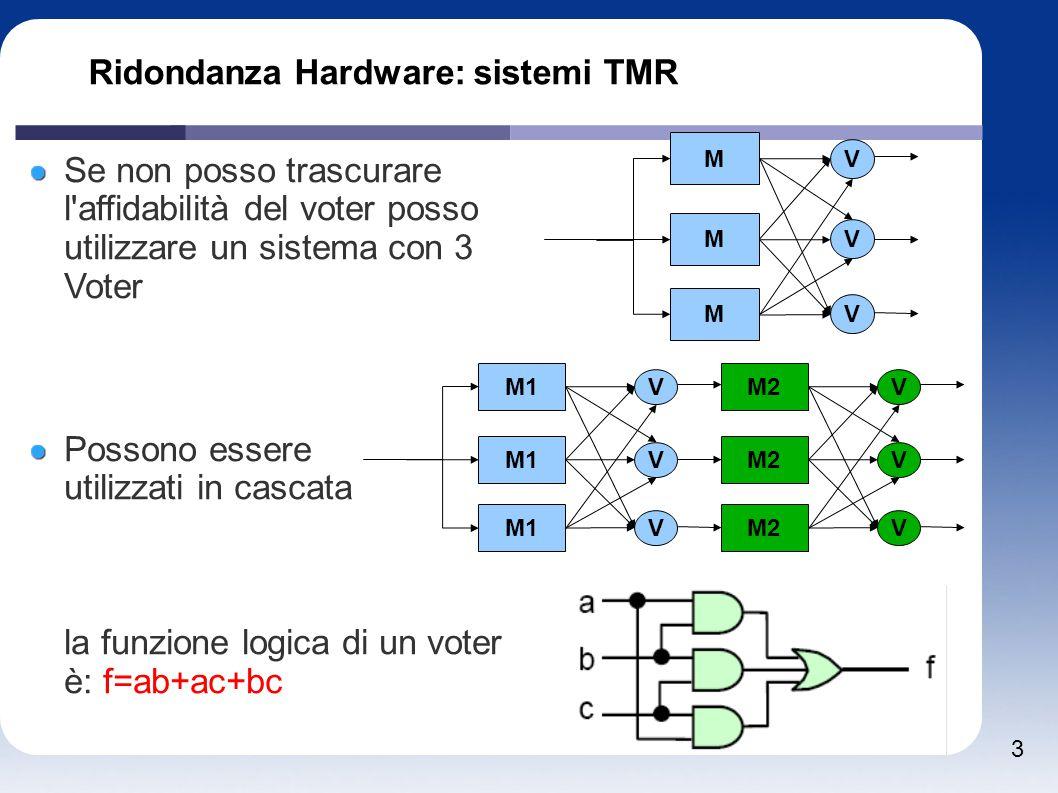 3 Ridondanza Hardware: sistemi TMR M M M V V V Se non posso trascurare l'affidabilità del voter posso utilizzare un sistema con 3 Voter Possono essere