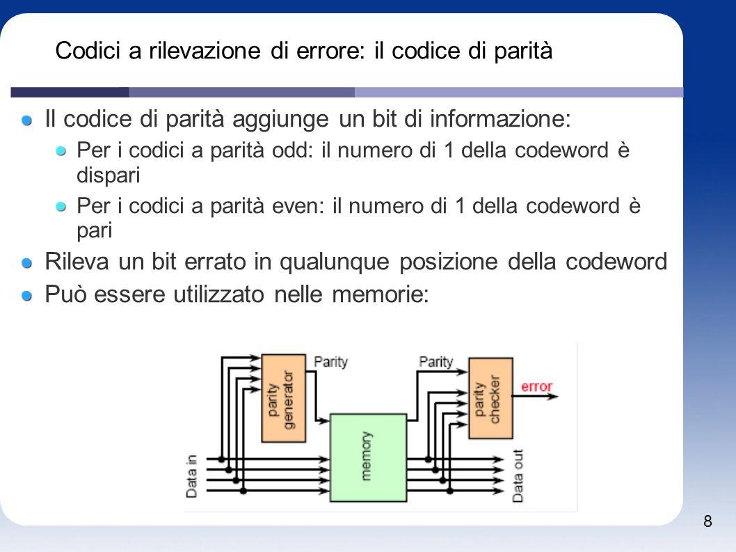 8 Codici a rilevazione di errore: il codice di parità Il codice di parità aggiunge un bit di informazione: Per i codici a parità odd: il numero di 1 d