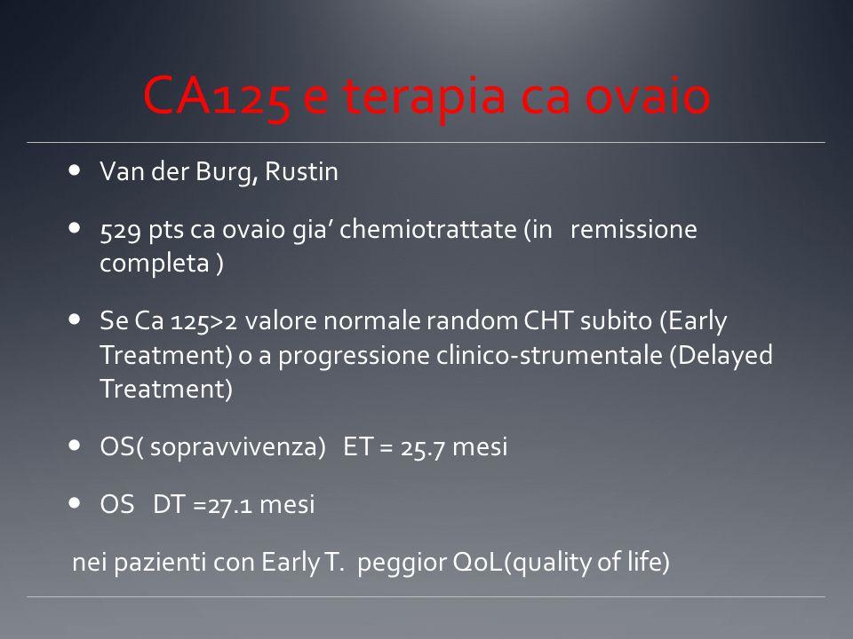 CA125 e terapia ca ovaio Van der Burg, Rustin 529 pts ca ovaio gia' chemiotrattate (in remissione completa ) Se Ca 125>2 valore normale random CHT subito (Early Treatment) o a progressione clinico-strumentale (Delayed Treatment) OS( sopravvivenza) ET = 25.7 mesi OS DT =27.1 mesi nei pazienti con Early T.