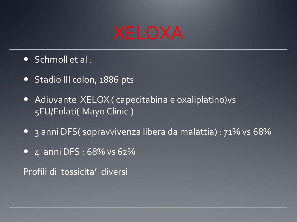 XELOXA Schmoll et al. Stadio III colon, 1886 pts Adiuvante XELOX ( capecitabina e oxaliplatino)vs 5FU/Folati( Mayo Clinic ) 3 anni DFS( sopravvivenza