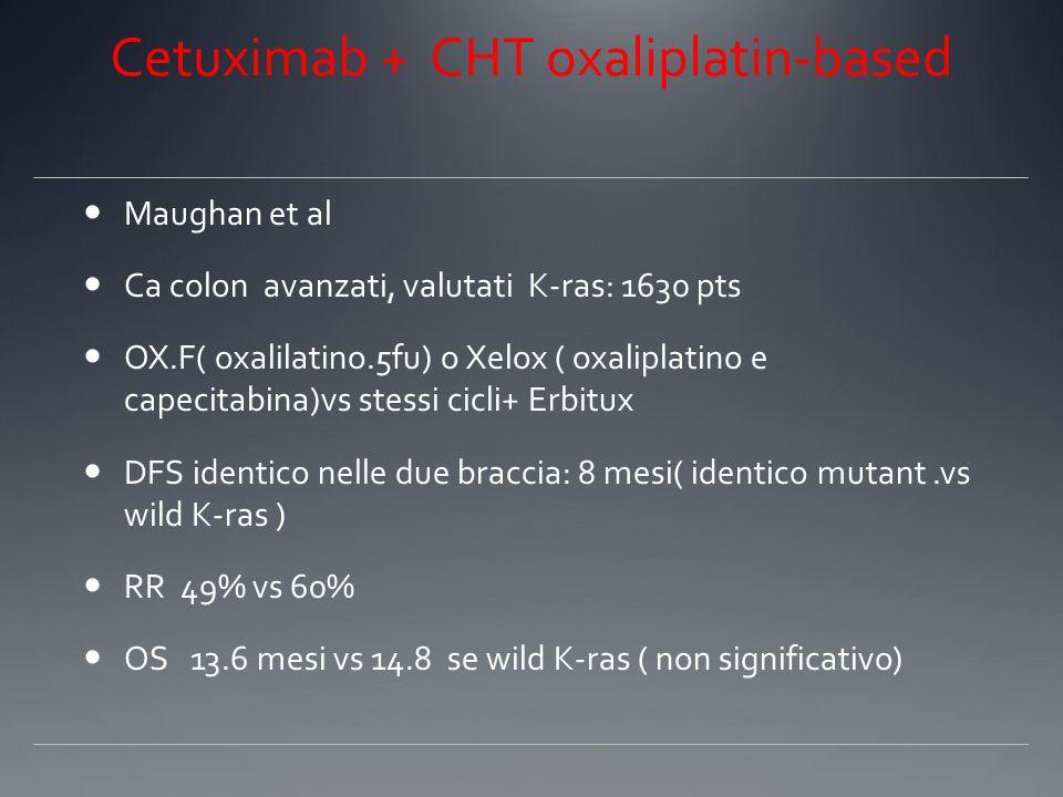 Cetuximab + CHT oxaliplatin-based Maughan et al Ca colon avanzati, valutati K-ras: 1630 pts OX.F( oxalilatino.5fu) o Xelox ( oxaliplatino e capecitabina)vs stessi cicli+ Erbitux DFS identico nelle due braccia: 8 mesi( identico mutant.vs wild K-ras ) RR 49% vs 60% OS 13.6 mesi vs 14.8 se wild K-ras ( non significativo)