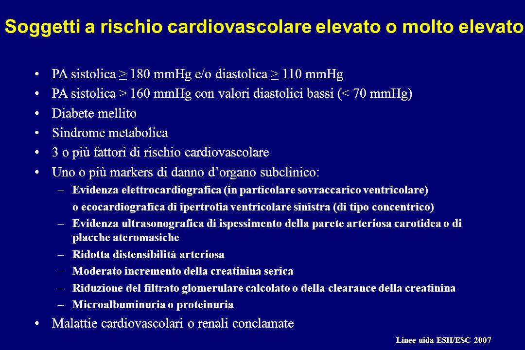 PA sistolica > 180 mmHg e/o diastolica > 110 mmHg PA sistolica > 160 mmHg con valori diastolici bassi (< 70 mmHg) Diabete mellito Sindrome metabolica 3 o più fattori di rischio cardiovascolare Uno o più markers di danno d'organo subclinico: –Evidenza elettrocardiografica (in particolare sovraccarico ventricolare) o ecocardiografica di ipertrofia ventricolare sinistra (di tipo concentrico) –Evidenza ultrasonografica di ispessimento della parete arteriosa carotidea o di placche ateromasiche –Ridotta distensibilità arteriosa –Moderato incremento della creatinina serica –Riduzione del filtrato glomerulare calcolato o della clearance della creatinina –Microalbuminuria o proteinuria Malattie cardiovascolari o renali conclamate Soggetti a rischio cardiovascolare elevato o molto elevato Linee uida ESH/ESC 2007