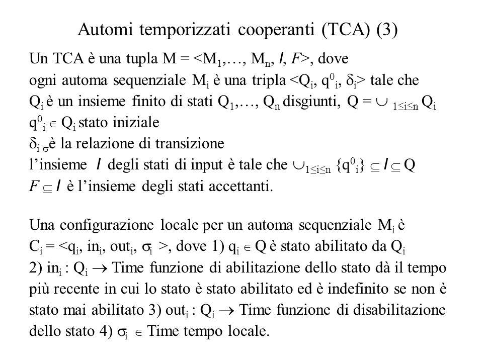 Automi temporizzati cooperanti (TCA) (4)  Una configurazione locale C i = è di input se q i  I.