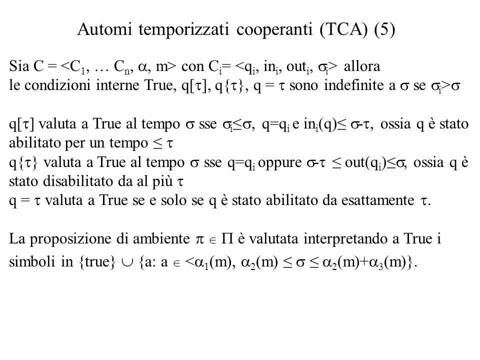 Automi temporizzati cooperanti (TCA) (5)  Sia C = con C i = allora le condizioni interne True, q[  ], q{  }, q =  sono indefinite a  se  i >  q[  ] valuta a True al tempo  sse  i ≤ ,  q=q i e in i (q)≤  - , ossia q è stato abilitato per un tempo ≤  q{  } valuta a True al tempo  sse q=q i oppure  -  ≤ out(q i )≤ , ossia q è stato disabilitato da al più  q =  valuta a True se e solo se q è stato abilitato da esattamente .