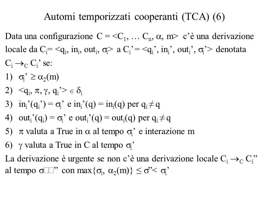 Automi temporizzati cooperanti (TCA) (6)  Data una configurazione C = c'è una derivazione locale da C i = a C i ' = denotata C i  C C i ' se:  i '   2 (m) 2)   i 3)in i '(q i ') =  i ' e in i '(q) = in i (q) per q i ≠ q 4)out i '(q i ) =  i ' e out i '(q) = out i (q) per q i ≠ q  valuta a True in  al tempo  i ' e interazione m  valuta a True in C al tempo  i ' La derivazione è urgente se non c'è una derivazione locale C i  C C i al tempo  con max{  i,  2 (m)} ≤  <  i '