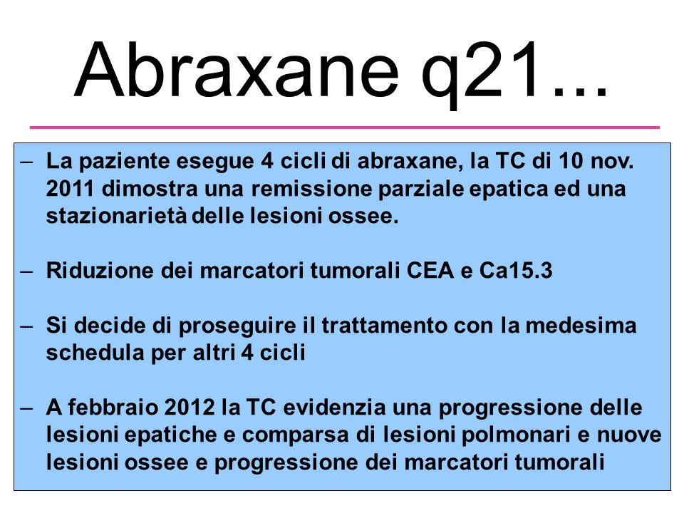 Abraxane q21...–La paziente esegue 4 cicli di abraxane, la TC di 10 nov.