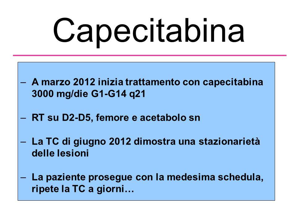 Capecitabina –A marzo 2012 inizia trattamento con capecitabina 3000 mg/die G1-G14 q21 –RT su D2-D5, femore e acetabolo sn –La TC di giugno 2012 dimostra una stazionarietà delle lesioni –La paziente prosegue con la medesima schedula, ripete la TC a giorni…