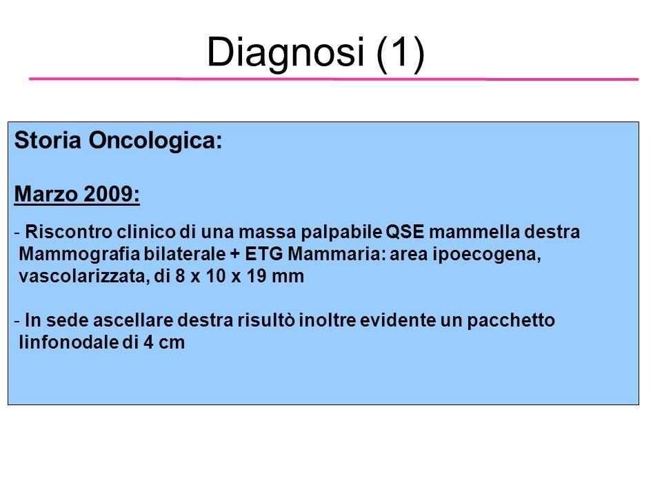 Diagnosi (1) Storia Oncologica: Marzo 2009: - Riscontro clinico di una massa palpabile QSE mammella destra Mammografia bilaterale + ETG Mammaria: area ipoecogena, vascolarizzata, di 8 x 10 x 19 mm - In sede ascellare destra risultò inoltre evidente un pacchetto linfonodale di 4 cm