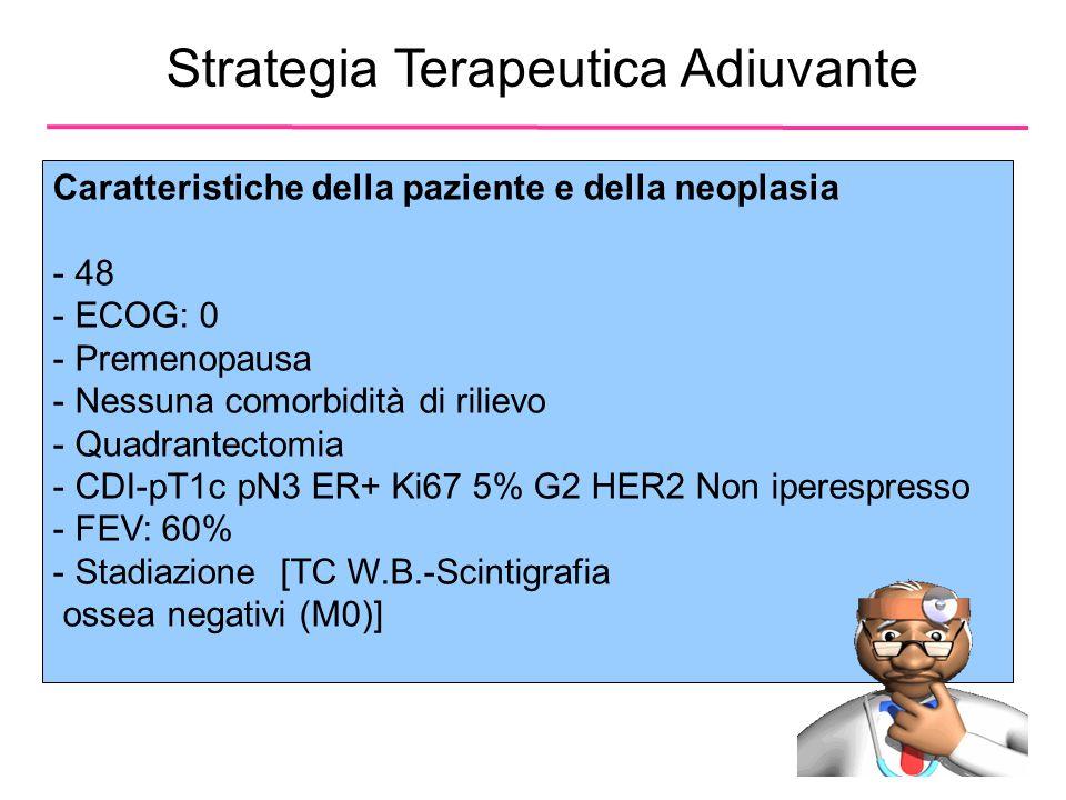 Strategia Terapeutica Adiuvante Caratteristiche della paziente e della neoplasia - 48 - ECOG: 0 - Premenopausa - Nessuna comorbidità di rilievo - Quadrantectomia - CDI-pT1c pN3 ER+ Ki67 5% G2 HER2 Non iperespresso - FEV: 60% - Stadiazione [TC W.B.-Scintigrafia ossea negativi (M0)]