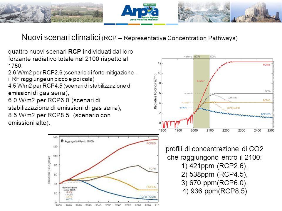 Nuovi scenari climatici (RCP – Representative Concentration Pathways) profili di concentrazione di CO2 che raggiungono entro il 2100: 1) 421ppm (RCP2.