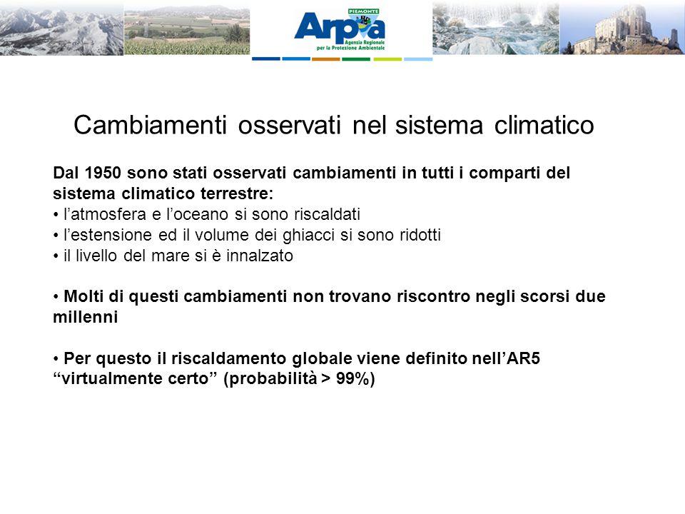 Cambiamenti osservati nel sistema climatico Dal 1950 sono stati osservati cambiamenti in tutti i comparti del sistema climatico terrestre: l'atmosfera