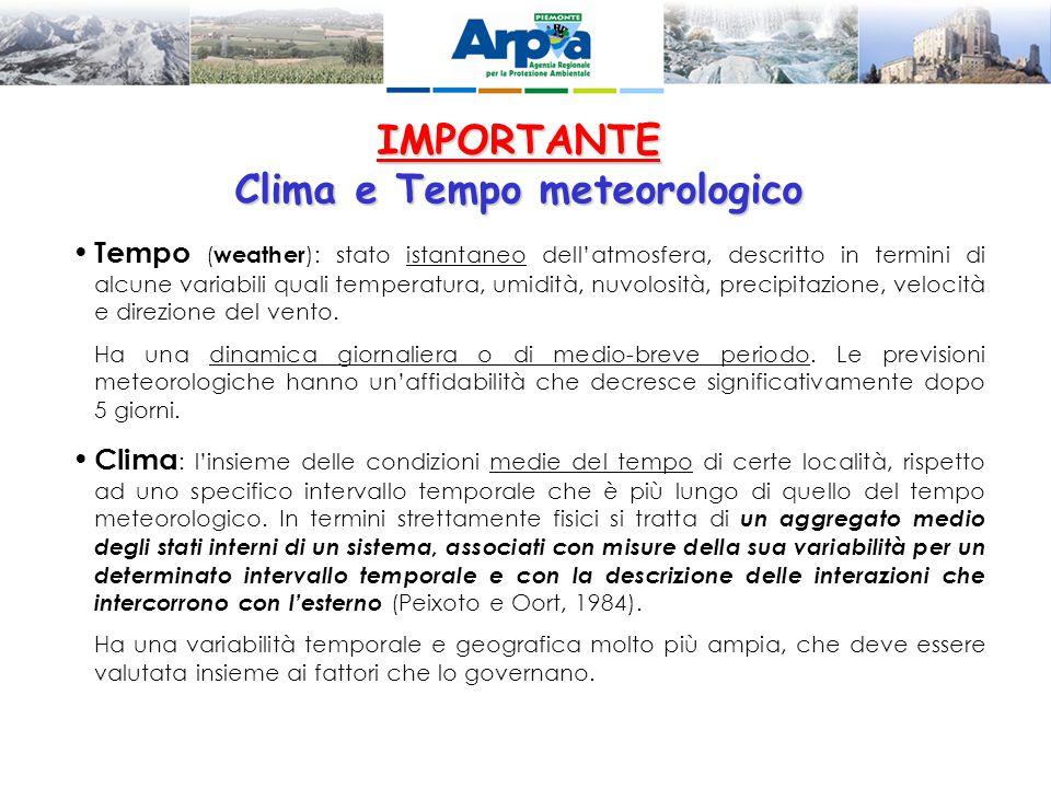 IMPORTANTE Clima e Tempo meteorologico Tempo ( weather ): stato istantaneo dell'atmosfera, descritto in termini di alcune variabili quali temperatura,