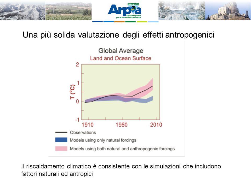 Il riscaldamento climatico è consistente con le simulazioni che includono fattori naturali ed antropici Una più solida valutazione degli effetti antro
