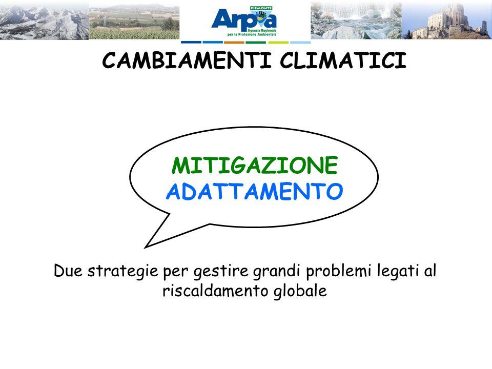 CAMBIAMENTI CLIMATICI MITIGAZIONE ADATTAMENTO Due strategie per gestire grandi problemi legati al riscaldamento globale