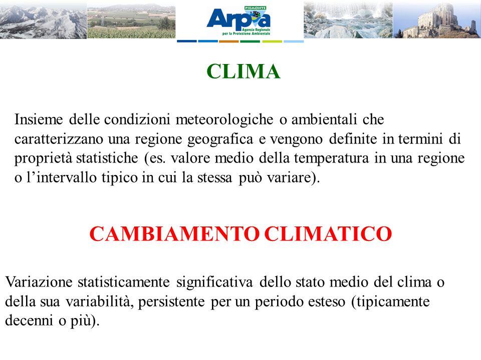 CLIMA Insieme delle condizioni meteorologiche o ambientali che caratterizzano una regione geografica e vengono definite in termini di proprietà statis