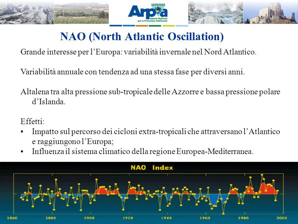 NAO (North Atlantic Oscillation) Grande interesse per l'Europa: variabilità invernale nel Nord Atlantico. Variabilità annuale con tendenza ad una stes