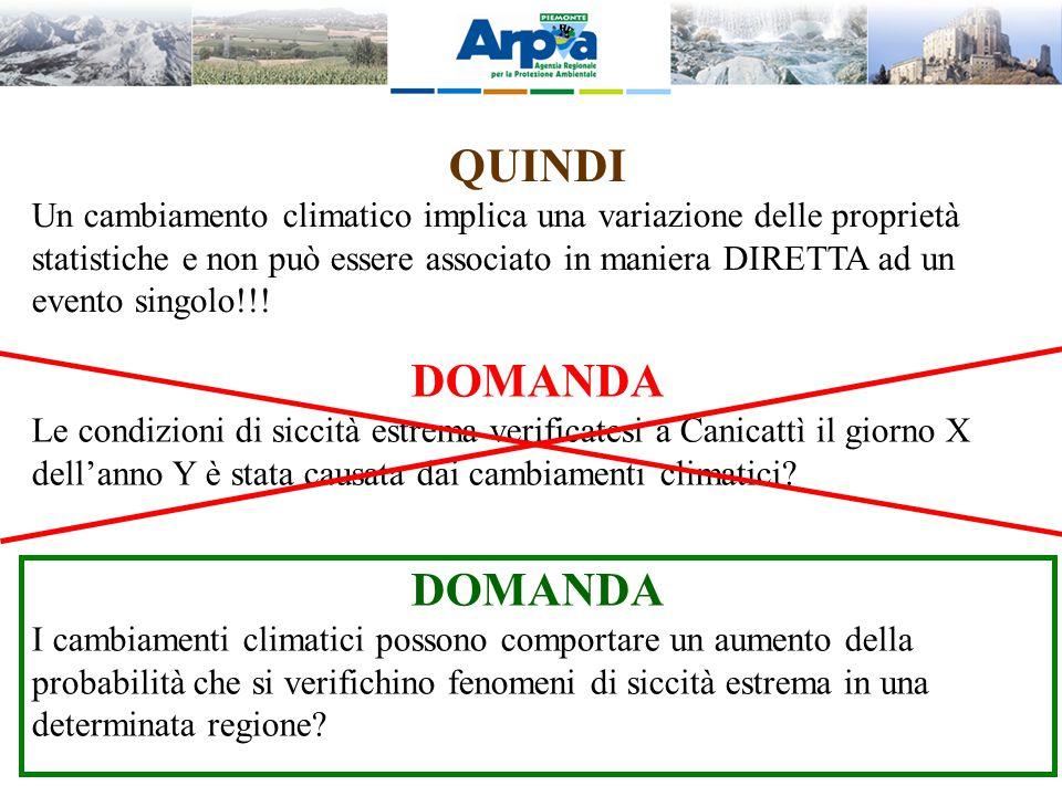QUINDI Un cambiamento climatico implica una variazione delle proprietà statistiche e non può essere associato in maniera DIRETTA ad un evento singolo!