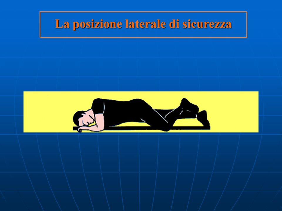 Il trattamento d'urgenza richiede: posizione laterale di adagiare il soggetto in posizione laterale di sicurezza sicurezza allentare gli abiti stretti