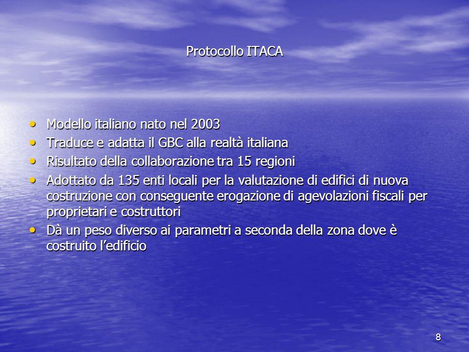 8 Protocollo ITACA Modello italiano nato nel 2003 Modello italiano nato nel 2003 Traduce e adatta il GBC alla realtà italiana Traduce e adatta il GBC alla realtà italiana Risultato della collaborazione tra 15 regioni Risultato della collaborazione tra 15 regioni Adottato da 135 enti locali per la valutazione di edifici di nuova costruzione con conseguente erogazione di agevolazioni fiscali per proprietari e costruttori Adottato da 135 enti locali per la valutazione di edifici di nuova costruzione con conseguente erogazione di agevolazioni fiscali per proprietari e costruttori Dà un peso diverso ai parametri a seconda della zona dove è costruito l'edificio Dà un peso diverso ai parametri a seconda della zona dove è costruito l'edificio