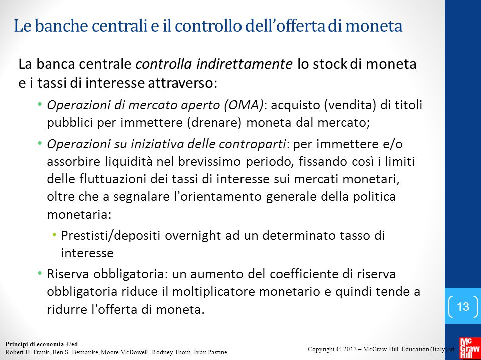 Copyright © 2013 – McGraw-Hill Education (Italy) srl Principi di economia 4/ed Robert H.