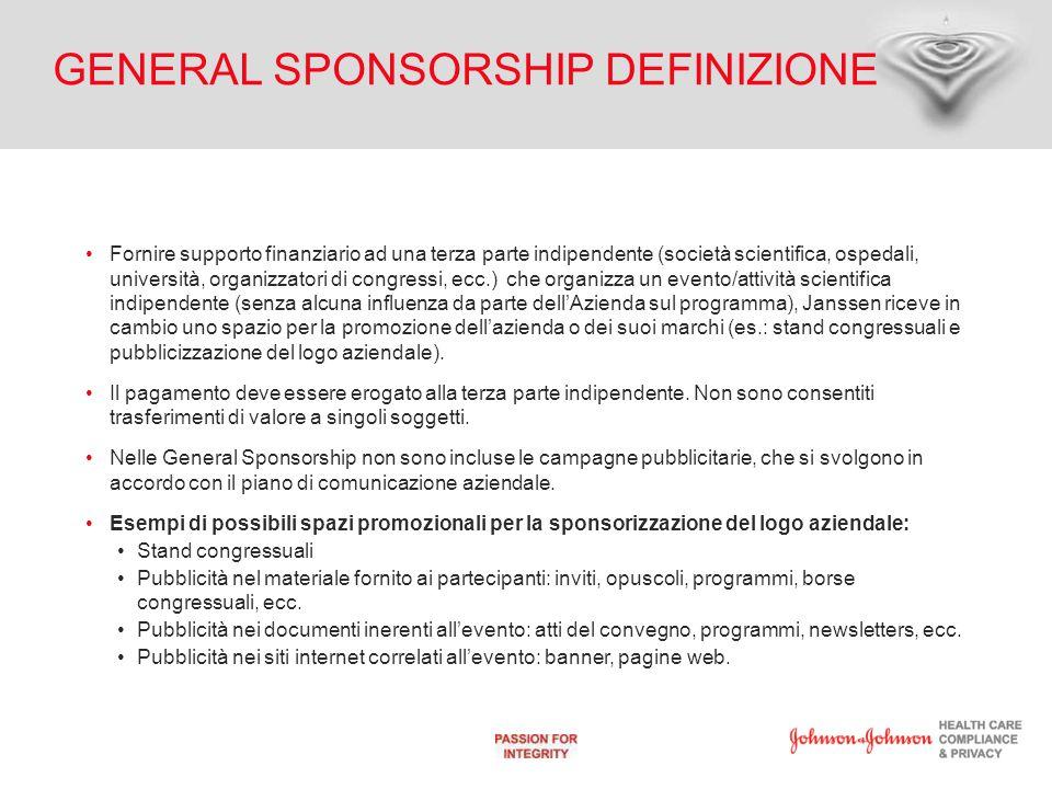 GENERAL SPONSORSHIP DEFINIZIONE Fornire supporto finanziario ad una terza parte indipendente (società scientifica, ospedali, università, organizzatori