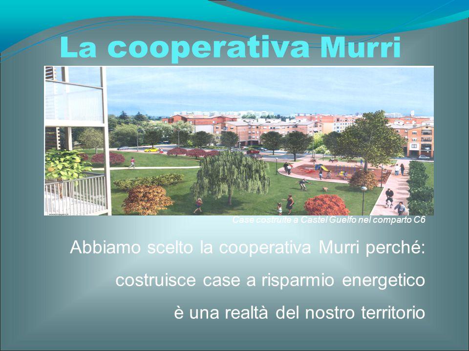 La cooperativa Murri Case costruite a Castel Guelfo nel comparto C6 Abbiamo scelto la cooperativa Murri perché: costruisce case a risparmio energetico