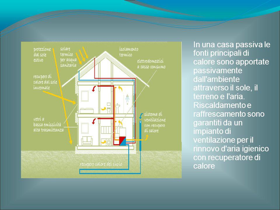 In una casa passiva le fonti principali di calore sono apportate passivamente dall'ambiente attraverso il sole, il terreno e l'aria. Riscaldamento e r