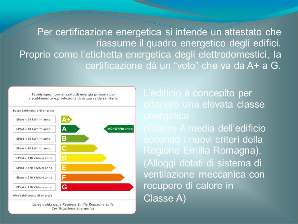 L'edificio è concepito per ottenere una elevata classe energetica (Classe A media dell'edificio secondo i nuovi criteri della Regione Emilia Romagna).