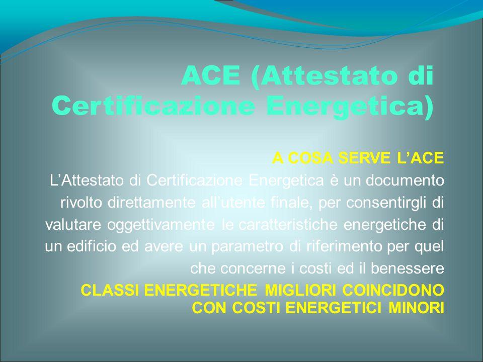 A COSA SERVE L'ACE L'Attestato di Certificazione Energetica è un documento rivolto direttamente all'utente finale, per consentirgli di valutare oggett