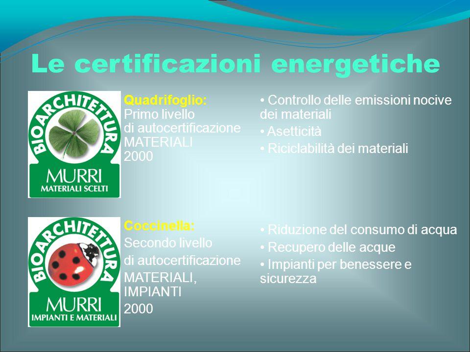 Quadrifoglio: Primo livello di autocertificazione MATERIALI 2000 Coccinella: Secondo livello di autocertificazione MATERIALI, IMPIANTI 2000 Le certifi