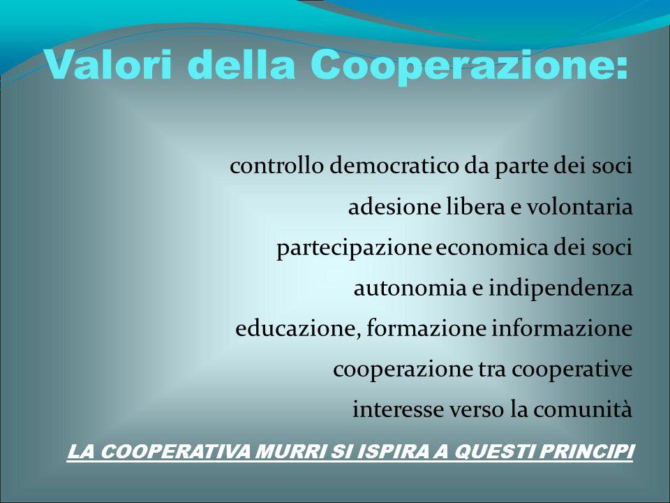 controllo democratico da parte dei soci adesione libera e volontaria partecipazione economica dei soci autonomia e indipendenza educazione, formazione
