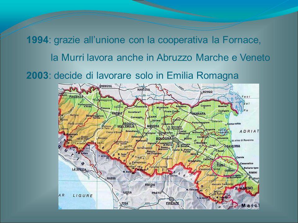 1994: grazie all'unione con la cooperativa la Fornace, la Murri lavora anche in Abruzzo Marche e Veneto 2003: decide di lavorare solo in Emilia Romagn
