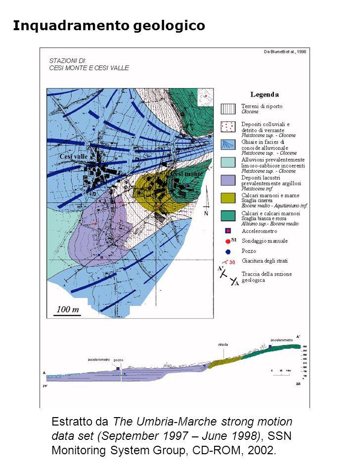 Localizzazione indagini c vcvc S1 S2 vcvc Misura di microtremore Sondaggio geognostico cfccfc cfccfc Postazione accelerometrica M1 M2