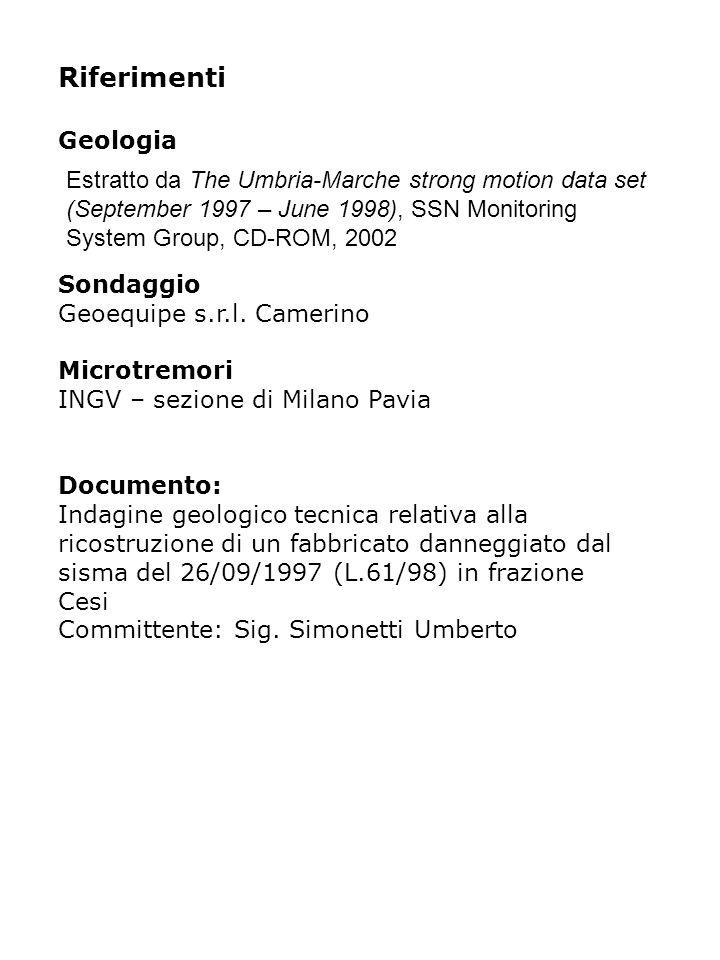 Riferimenti Geologia Sondaggio Geoequipe s.r.l.