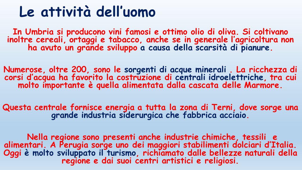 Le attività dell'uomo In Umbria si producono vini famosi e ottimo olio di oliva. Si coltivano inoltre cereali, ortaggi e tabacco, anche se in generale