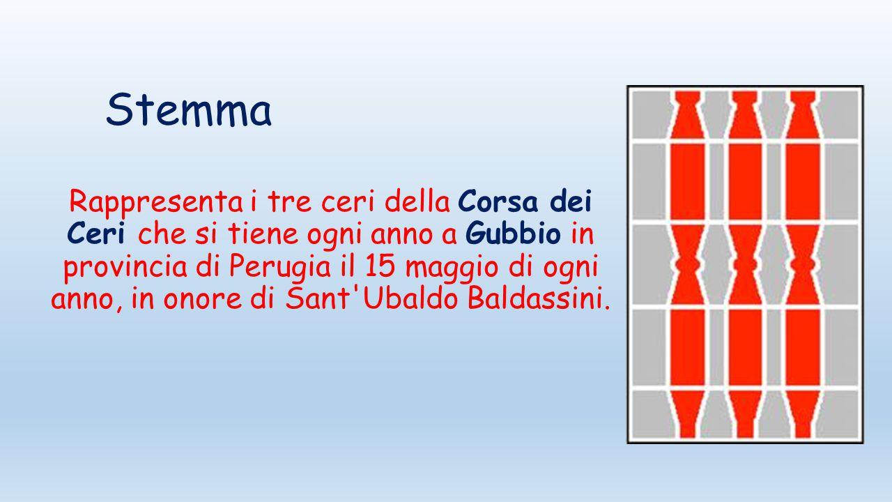 Stemma Rappresenta i tre ceri della Corsa dei Ceri che si tiene ogni anno a Gubbio in provincia di Perugia il 15 maggio di ogni anno, in onore di Sant