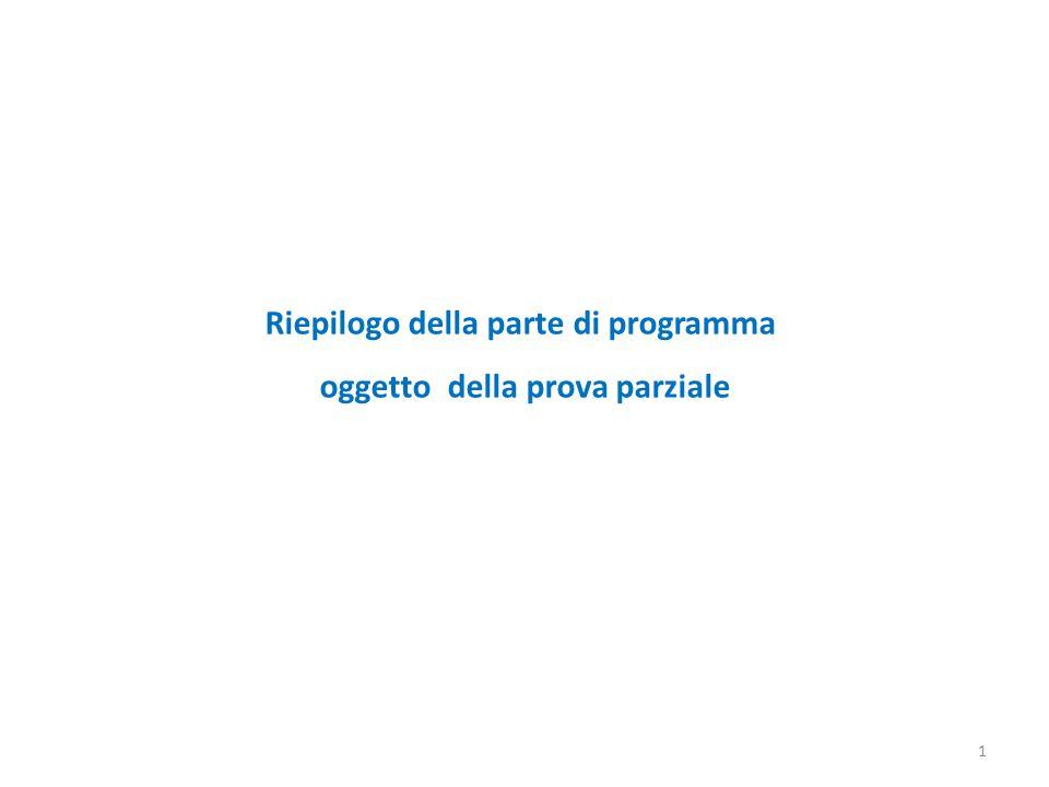 Riepilogo della parte di programma oggetto della prova parziale 1