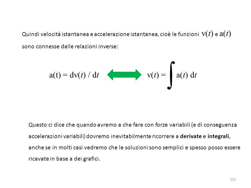 101 Quindi velocità istantanea e accelerazione istantanea, cioè le funzioni v(t) e a(t) sono connesse dalle relazioni inverse: a(t) = dv(t) / dt v(t) = a(t) dt ∫ Questo ci dice che quando avremo a che fare con forze variabili (e di conseguenza accelerazioni variabili) dovremo inevitabilmente ricorrere a derivate e integrali, anche se in molti casi vedremo che le soluzioni sono semplici e spesso posso essere ricavate in base a dei grafici.