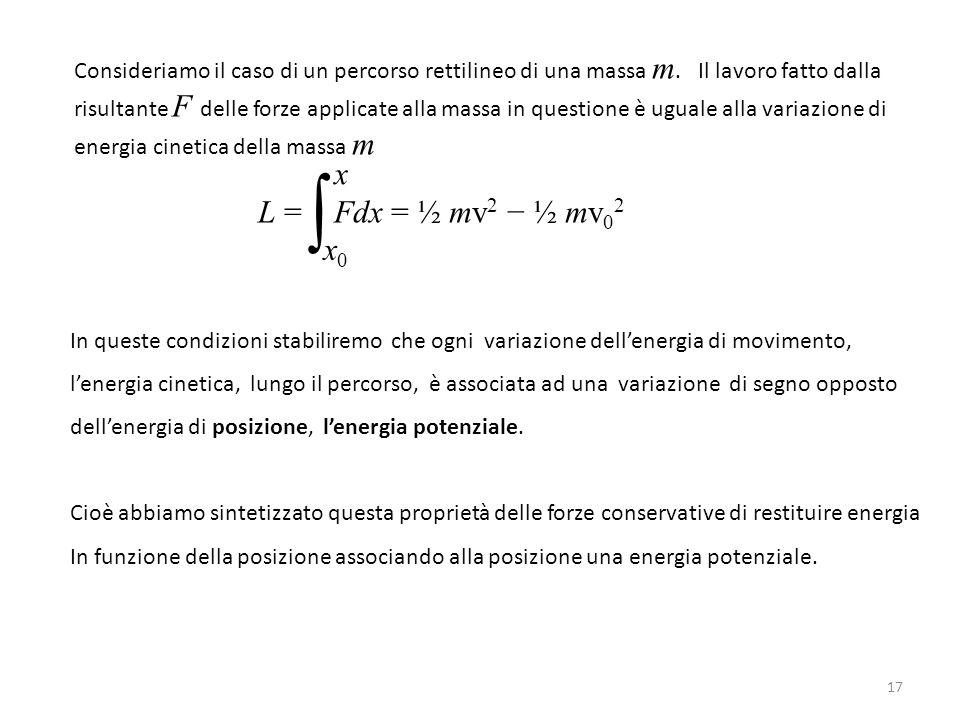 Consideriamo il caso di un percorso rettilineo di una massa m.